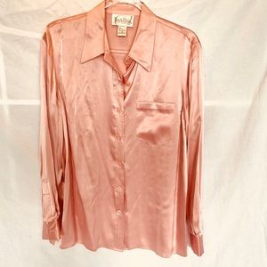 Diane Von Furstenberg Nude Blush silk blouse